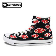 Red Cloud Men Women Shoes Sneakers All Star Converse Anime Naruto Shippuden Akatsuki Design Hand Painted Shoes Sneakers Cosplay