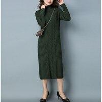 New Arrive Autumn Winter Women S Wear European And American High Neckline Sweater Dresses Solid Long