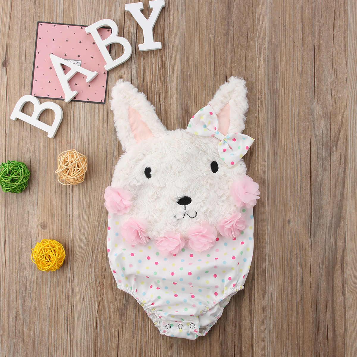Pudcoco幼児女の赤ちゃん服フラワーレースバニーロンパースジャンプスーツチュチュスカートワンピース夏幼児服