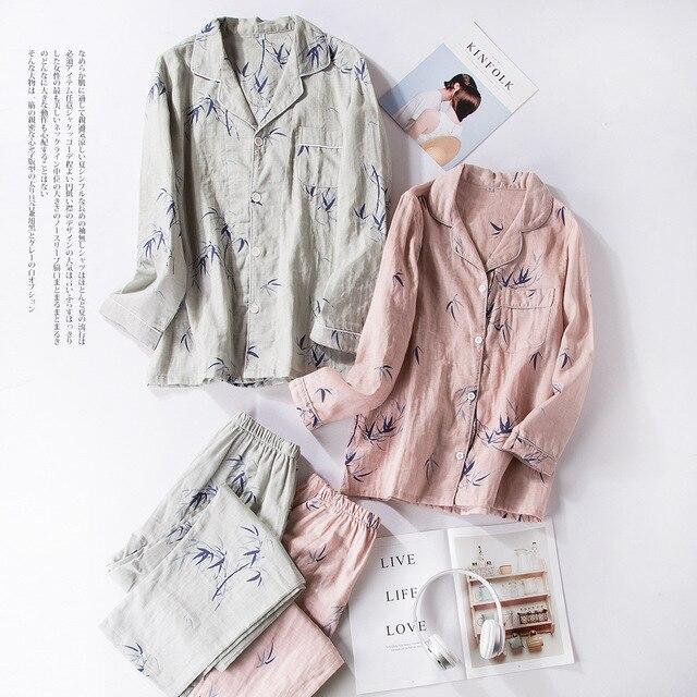 6ce6835657 Women s Pajama Sets Japanese Print Yukata Underwear Kimono Robe Gown Cotton  Suits Nightgown Sleepwear Bathrobe Leisure