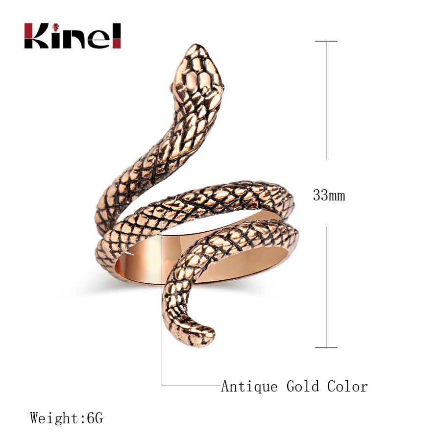 Kinel mode serpent anneaux pour femmes couleur or noir métaux lourds Punk Rock anneau Vintage Animal bijoux en gros
