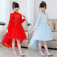 Fashion Girls Party Dress Flower Princess Elegant Chinese Trailing Dresses New Design Style Kids Frock Clothing for 4 10 Years