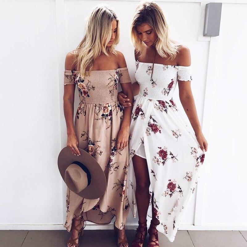 Boho Style Long Dress Women Off Shoulder Beach Summer Dresses Floral Print Vintage Chiffon White Maxi Dress