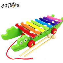 CUTEBEE Wooden Crocodile Musical Instrument Montessori music Educational Toys for Children Piano Knock Tables Music Kids Toy