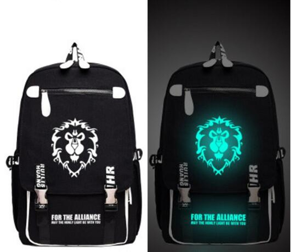 World of Warcraft SAO Backpack School Bag Print Anime Luminou Backpack Bag Messenger Glow Light School Student Bag Boy Girl Gift