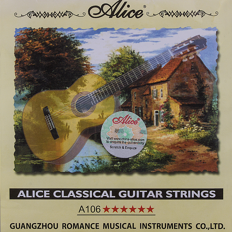 Classical Guitar Strings Set 6-string Classic Guitar Clear Nylon Strings Silver Plated Copper Alloy Wound - Alice A106 alloy classical guitar capo black silver