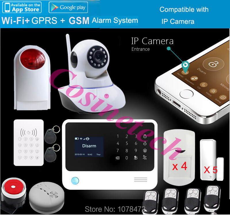 Original G90B PLUS WIFI GSM alarm system GPRS,Touch keypad IOS Android APP controlled Home secure Alarm System with IP camera цена и фото