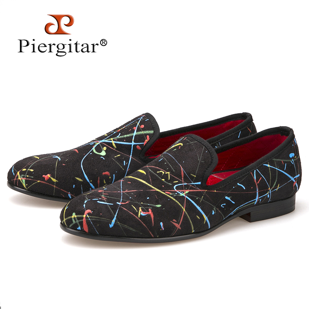 New handmade graffiti men party and wedding loafers fashion slip on men casual shoes British style smoking slippers men's flat цена 2016