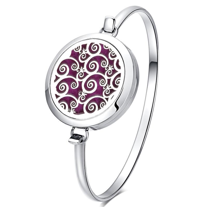 Circle Stainless Steel Bracelet Essential Oil Diffuser Bracelet Locket Perfume Aromatherapy Bracelet Silver Bangle