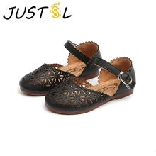 JUSTSL 2018 new girls small leather Sandals kids hollow princess shoes children students teenage fashion sandals size 21-35