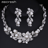 2016 New Simulated Pearl White K Plated Wedding Accessories Flower Necklace Earrings Jewelry Sets Best Bridal