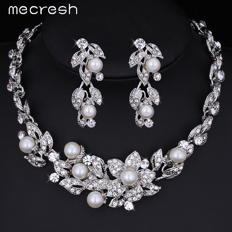 Mecresh Simulated Pearl Bridal Jewelry Ss