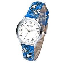 Disney бренда детская наручные часы Девочка мальчик Микки Мультфильм 30 м водонепроницаемый кварцевые часы Искусственная кожа дети часы