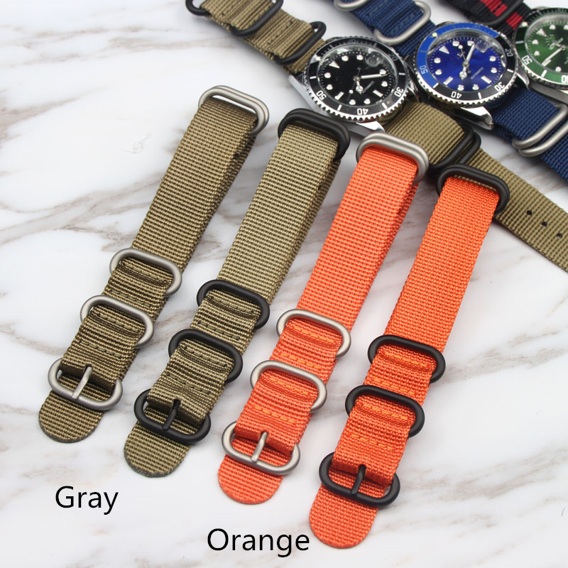 TJP 18mm 20mm 22mm 24mm New Nato ZULU Orange Gray Army Military Nylon Wrist Watch Bands Strap Bracelet For OMEGA/Rolex/DW Watch