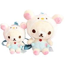 Cartoon Cute Rilakkuma Bear Plush Backpack Shoulder Bag Relax Bear Children School Bag for Girls Kids Birthday Gifts