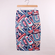 hot sale novelty geometric print women casual faldas pencil skirts  western fashion design vogue girl slim bottoms low price