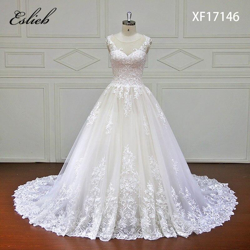 Eslieb High-end Custom made Lace Ball Gown Wedding Dress 2018 Illusion Sweetehart Court Train Vestido de Noiva Bride Dresses