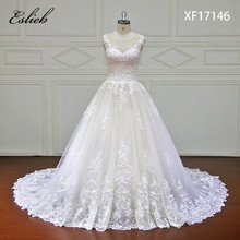 Eslieb High-end Custom made Lace Ball Gown Wedding Dress 2018 Illusion Sweetehart Court Train Vestido de Noiva Bride Dresses(China)