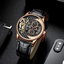2019 New Dress Business Watch Men Fashion Casual Brown Leather Strap Mens Watches Top Brand Luxury Unique Quartz Wristwatch high quality luxury top brand fashion casual brown crystal leather strap men watch women watch quartz wristwatch