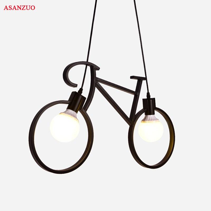 Винтаж Утюг Велосипедов Форма Творческий подвесной светильник E27 держатель лампы 110-240 В фойе Кофе дома столовая кулон огни