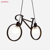 Vintage Iron Bicycle Shape Creative Pendant Lamp E27 Lamp Holder 110 240V Foyer Coffee House Dining Hall pendant lights