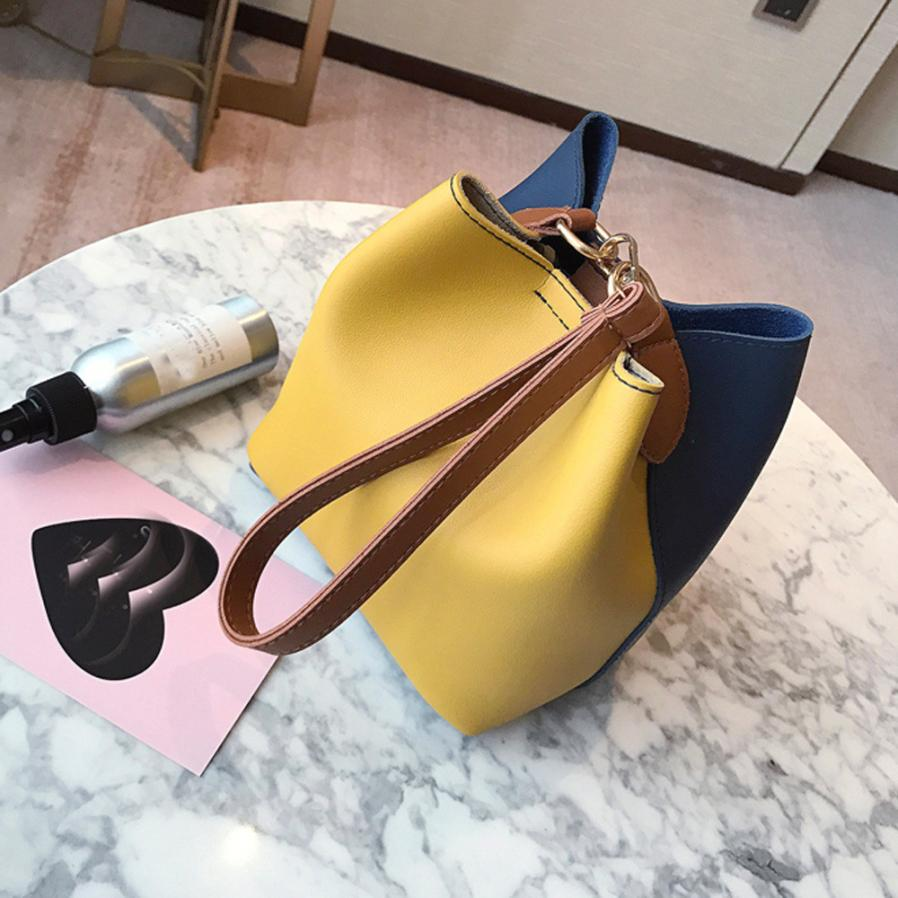 MOLAVE Shoulder Bags new high quality Leather Fashion Wide Patchwork Bucket women should ...