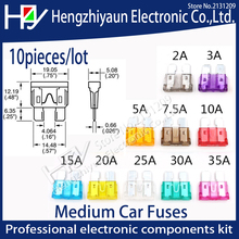 цена на Hzy 10pcs/lot  Medium Car Fuses 2A 3A 5A 7.5A 10A 15A 20A 25A 30A 35A ClipAmp  Assortment Auto Blade Fuse-Suv