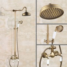 Bathroom Dual Ceramics Handles Antique Brass Wall Mounted Round Shower Head Rain & Hand Shower Faucet Mixer Tap Set aan517