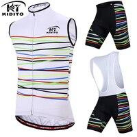 KIDITOKT 2018 Pro Team Cycling Jersey Mens Summer Sleeveless Waistcoat Bicycle Wear 3D GEL Pad Bib