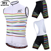 KIDITOKT 2018 Pro Team Cycling Jersey Mens Summer Sleeveless Waistcoat Bicycle Wear 3D GEL Pad Bib Pants Bike Clothing Vest Sets