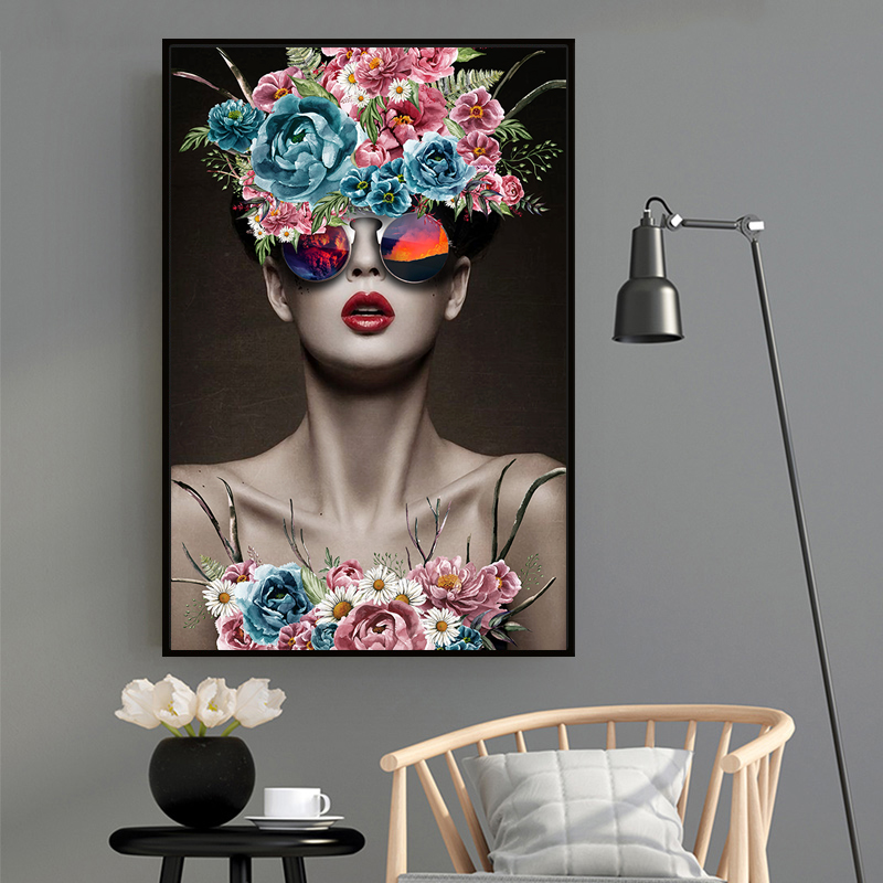 Modern Fashion Model Flower Floral Women Prints Canvas Art Paintings Posters POP Wall Art Pictures For Bedroom Home Decoration