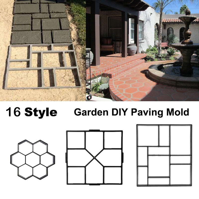 16 Style Plastic Cement Mold Driveway Paving Mold Garden DIY Tool Concrete Stepping Mould