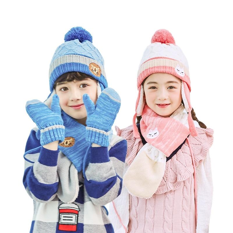 Kids Winter Scarf Hat Set For Kids Boys Girls Knitted Hats Scarfs Glove 3 Pcs Sets Pompom Cap Scarves Children Warm Suit
