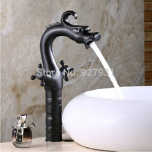 Retro Style China Dragon Style Dual Handles Countertop Basin Sink Faucet Dual Handles Oil Rubbed Bronze