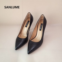 SANLUME Women Sexy High heels Genuine leather Pumps Lady Pointed Toe Silver Party Wedding shoes 10cm heels inside sheepskin hot sale high quality pointed toe thin high heels women shoes genuine leather upper and inside lady sexy pumps sheepskin shoes
