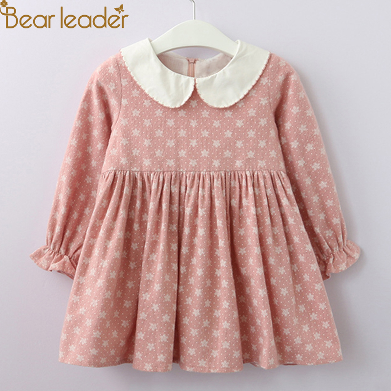 Bear Leader Girls Dress 2018 New Autumn little flower Kids A-Line Dress Peter pan Collar dress with Petal Full Sleeve For 3T-8T intel server system r1304sposhbn 1u rack system with s1200spo board and 4 x 3 5 hot swapable hdd drive cage 350w fixed power supply