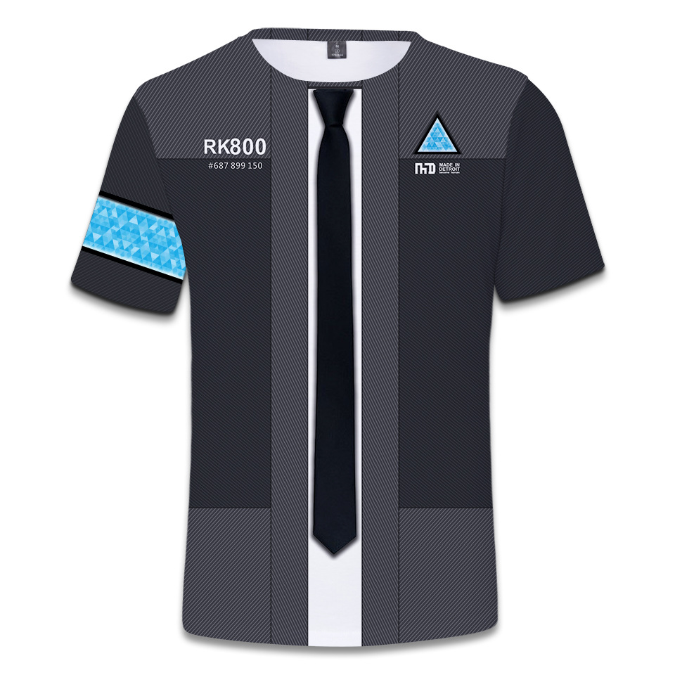 BOOCRE Movie Detroit: Become Human Cosplay Costumes 3D Digital Printing Short Sleeves T - Shirt
