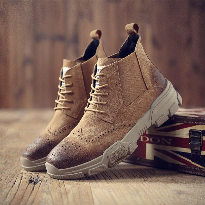 FIDANEI/Новинка 2018 г., мужские ботинки из натуральной кожи, ботинки «Bullock» на шнуровке, дышащие удобные мужские ботинки «Мартенс»