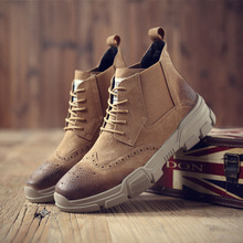 FIDANEI 2018 New Men Geunine Leather Boots Bullock Lace-Up Ankle Shoes Breathable Comfort Men Martin Boots