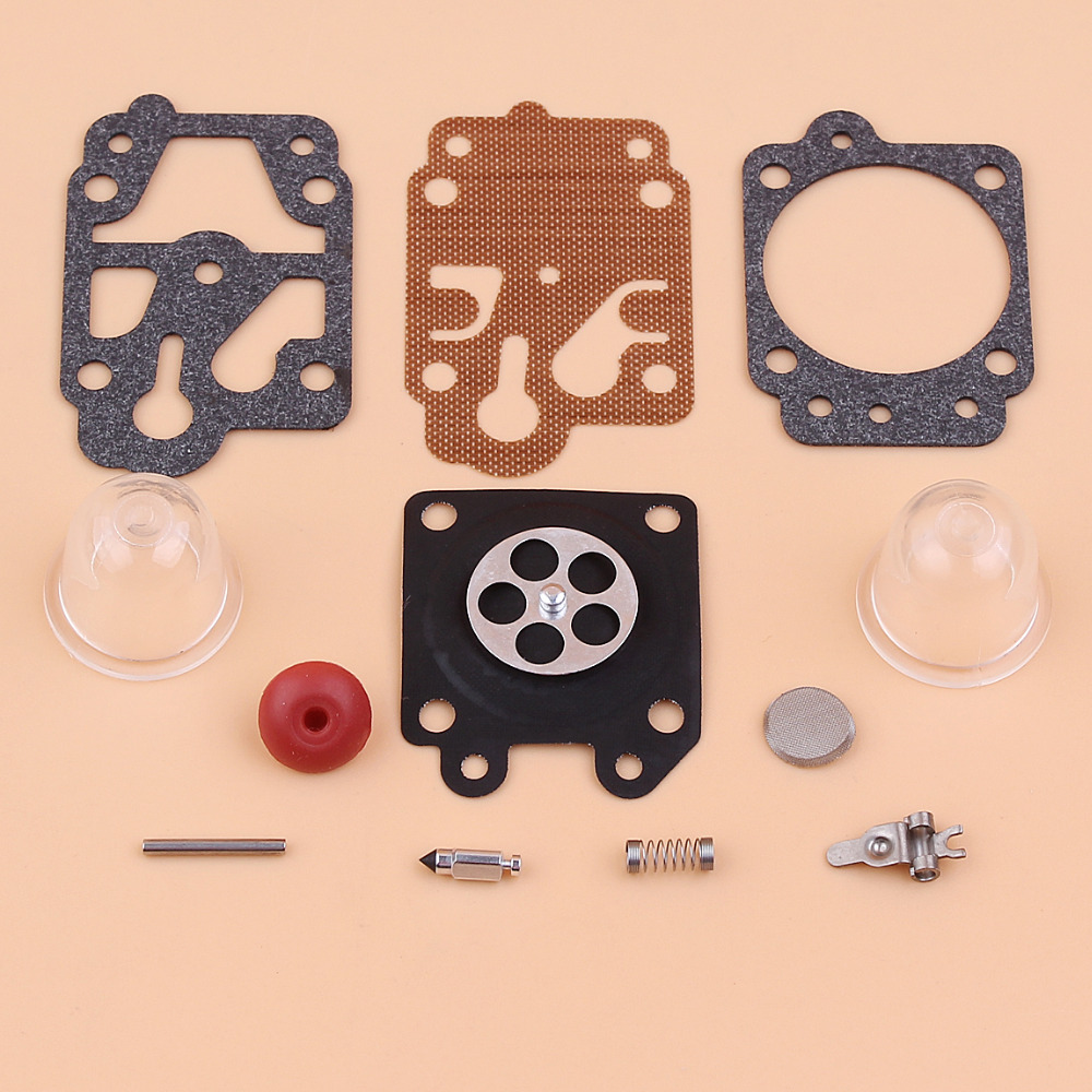 Carburetor Carb Repair Kit For CG260 CG330 CG430 CG520 BC430 BC520 40-5,43cc 52cc Brush Cutter Trimmer Primer Bulb Check Valve 3set brush cutter carburetor gasket kit and primer bulb needle 40 5 44f 5 34f 36f 139f gx35 grass trimmer carburetor repair kit