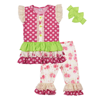 Factory Selling Girls Boutique Clothing Summer Style Dot Floral Pattern Top Ruffle Pants Kids Fashion Outfits