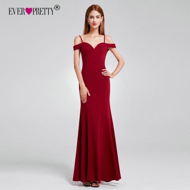 4277917b92c92 Little Mermaid Dress Evening Ever Pretty EP07017 Elegant V Neck Off  Shoulder Long Formal Wedding Party Gowns Robe De Soiree 2018