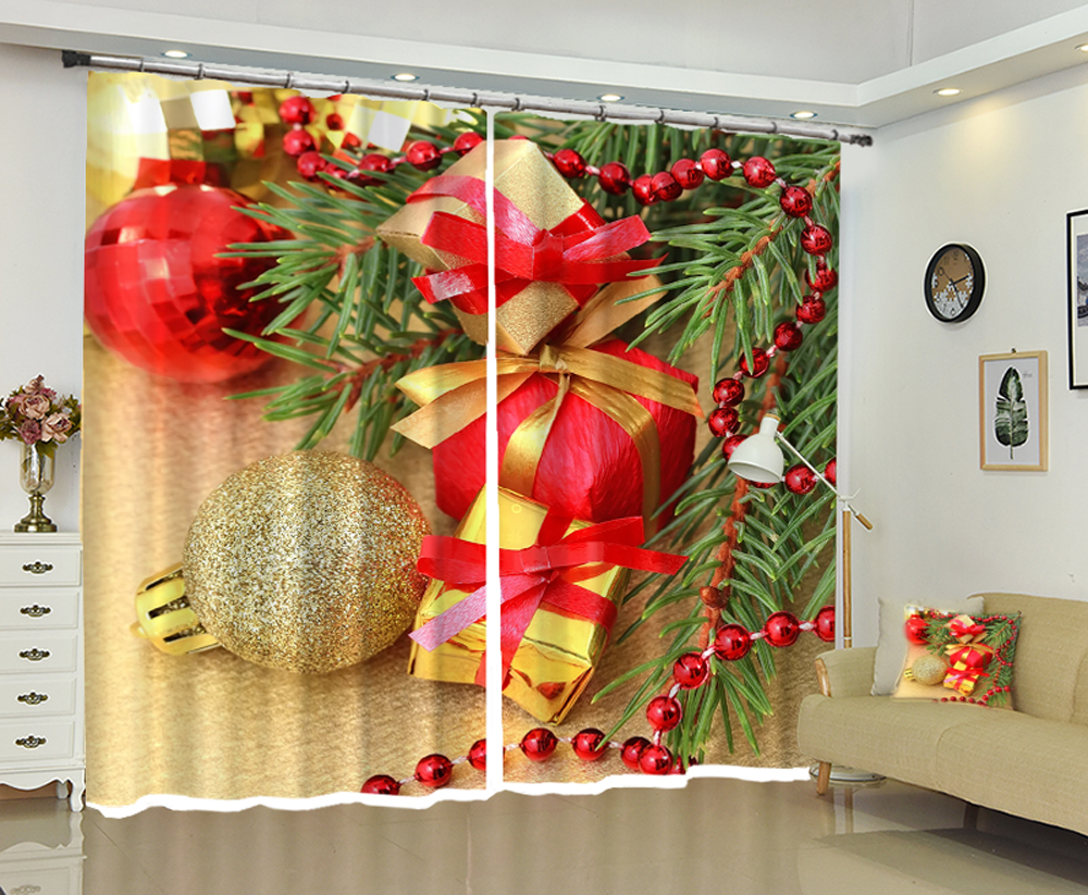 Christmas gift 3D Window Curtain Luxury Blackout Living ...