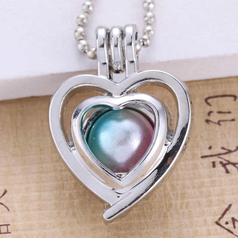 6pcs Silver Plated Heart  Fashion Jewelry Making Pearl Cage Locket Pendant Essential Oil Diffuser Fun Jewelry Gift