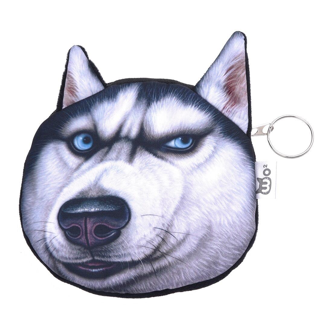 Cute Lovely 3D Dog Face Zipper Case Coin Girl Purse Wallet Makeup Bag Pouch Huskies