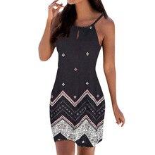 30f52dc808 Women Dress Summer Halter Neck Boho Print Sleeveless Casual Mini Beachwear  Dress Sundress Loose Vest Overall