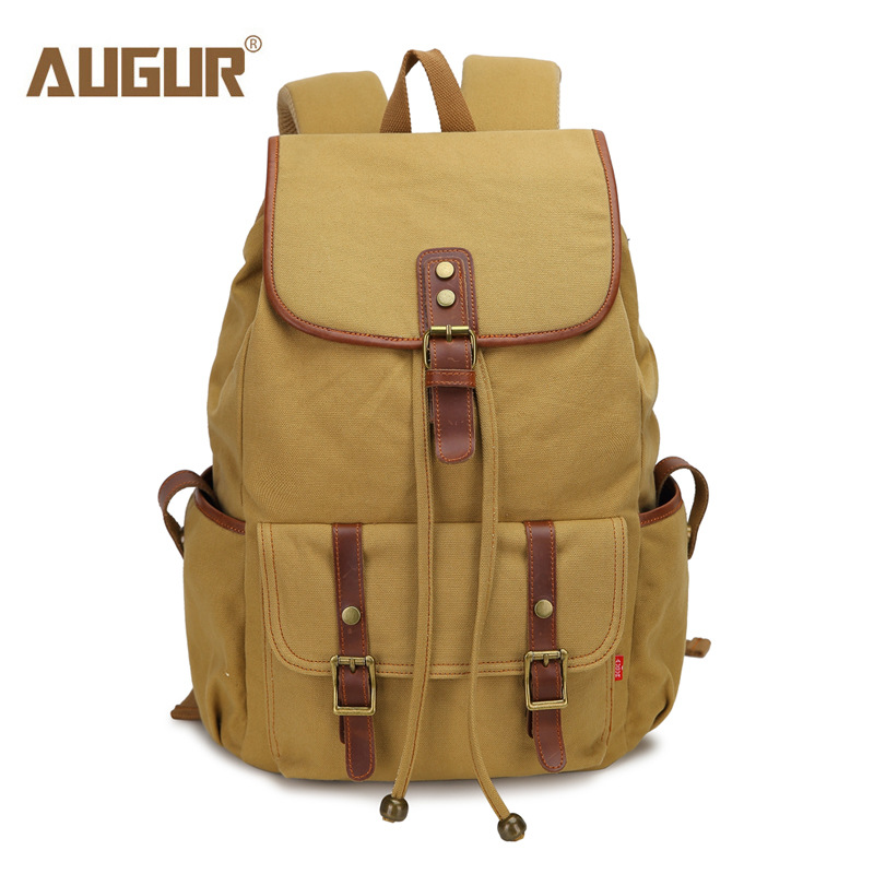 2018 NEW AUGUR Men Backpack Canvas Large Backpack  Casual School Bag Travel Bags For Men/Women Vintage Military Style Backpacks 13 laptop backpack bag school travel national style waterproof canvas computer backpacks bags unique 13 15 women retro bags