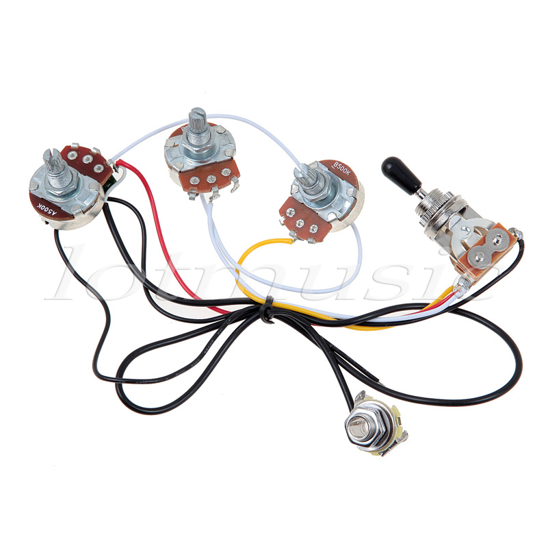 Wiring Harness 3 Way Toggle Switch 2 Volumes 2 Tones Jack For Lp Les on toggle with 1 pickup wiring diagram, humbucker pickup wiring diagram, 2 tone 1 volume bass diagram,