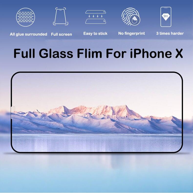 Anti-Poussière et Digitales Protecteur D'écran Pour iPhone X Verre Trempé 10 pièces 20 pièces 3D 9 H Anti-Déflagrant Film Protecteur