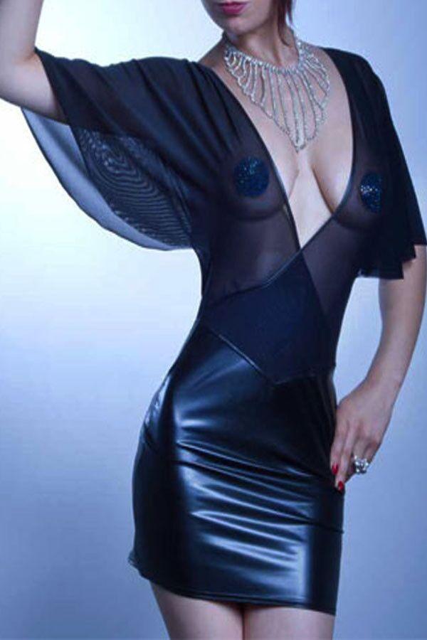 New Women Dress PU Leather Mesh Patchwork Half Sleeve Dress Bodycon Dress Black Backless Mini Dress Plus Size xxxl